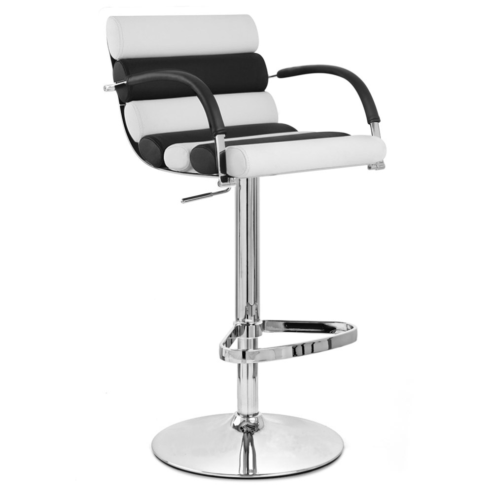 Black and White Ego Adjustable Height Swivel Bar Stool with Chrome ...