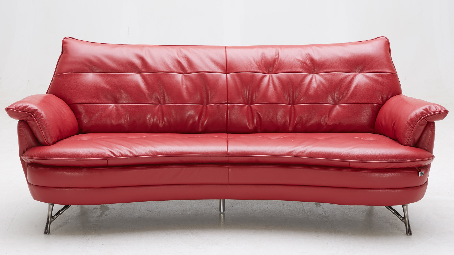Eiffel Italian Leather Sofa And Lounge Chair Set Red