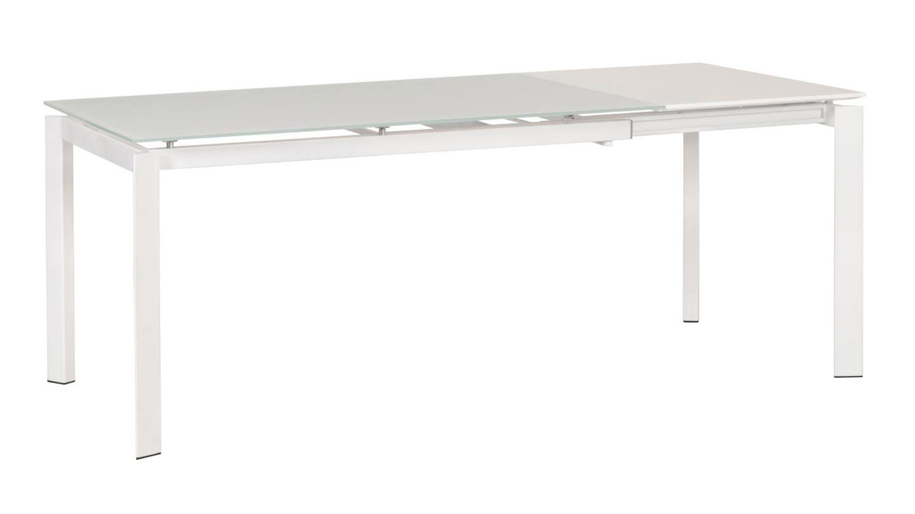 Eikki frosted glass extension dining table white zuri for Frosted glass dining table