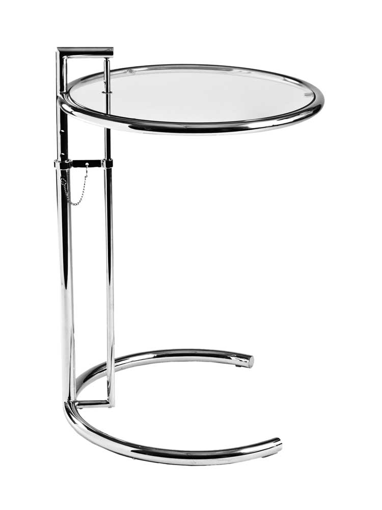eileen adjustable height tempered glass end table with chrome base zuri furniture. Black Bedroom Furniture Sets. Home Design Ideas