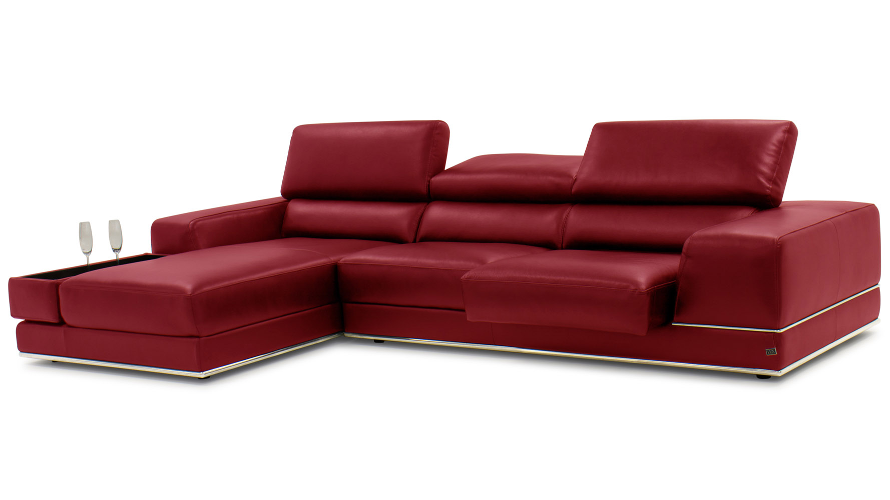 100 Red Leather Chaise Sofa Sectional L Shaped