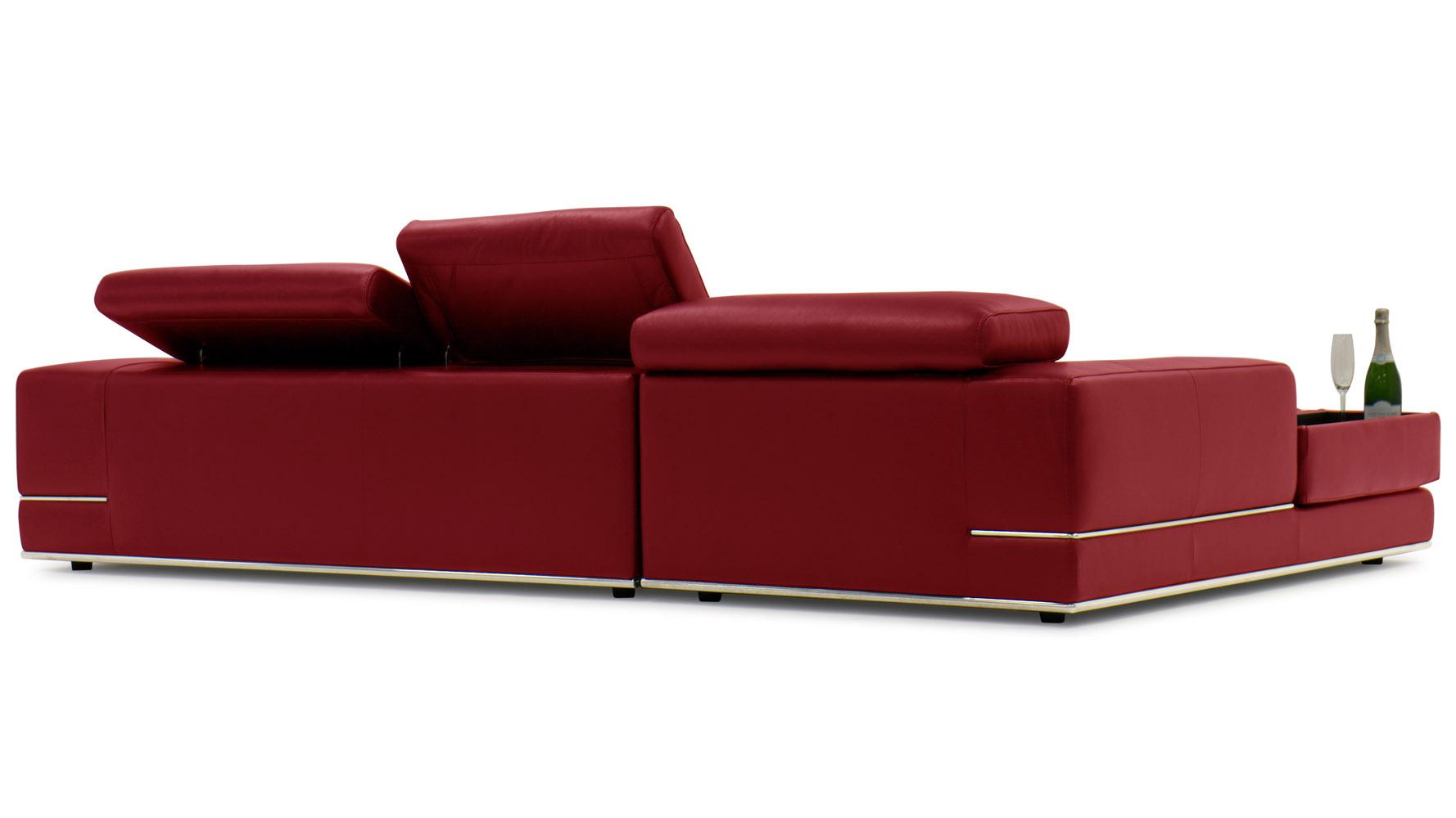 Encore red leather sofa zuri furniture for Ashley encore grain chaise