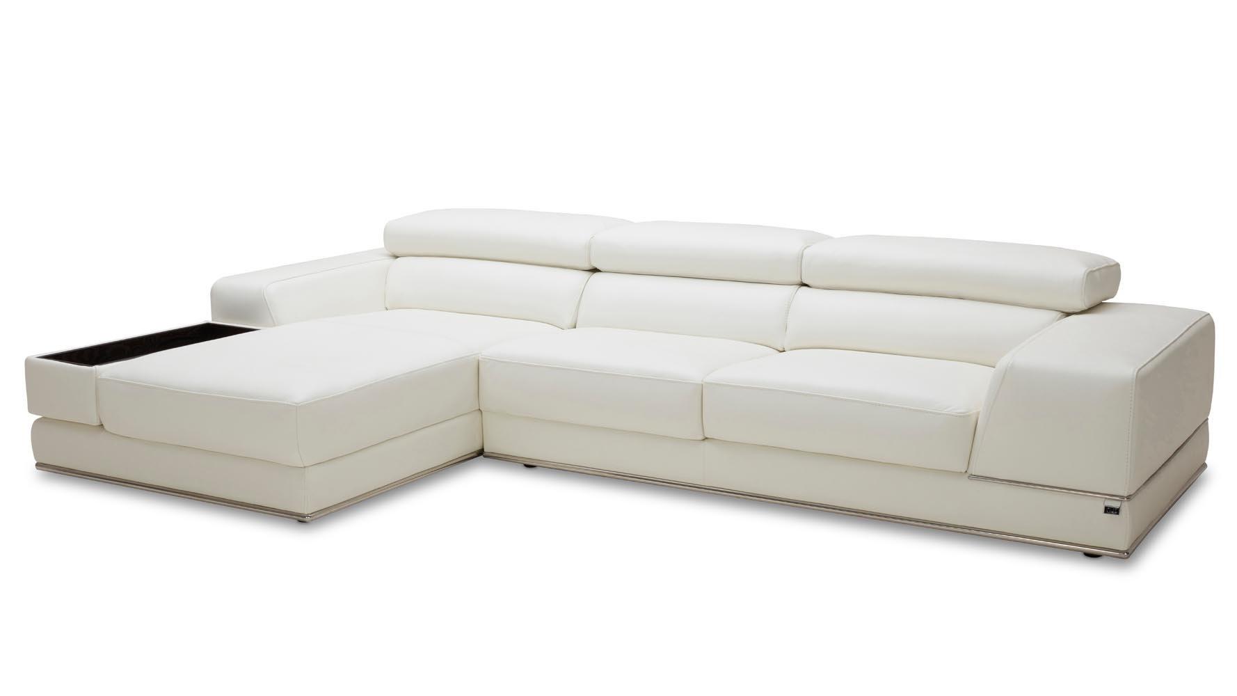 Encore white leather sofa zuri furniture for Ashley encore grain chaise