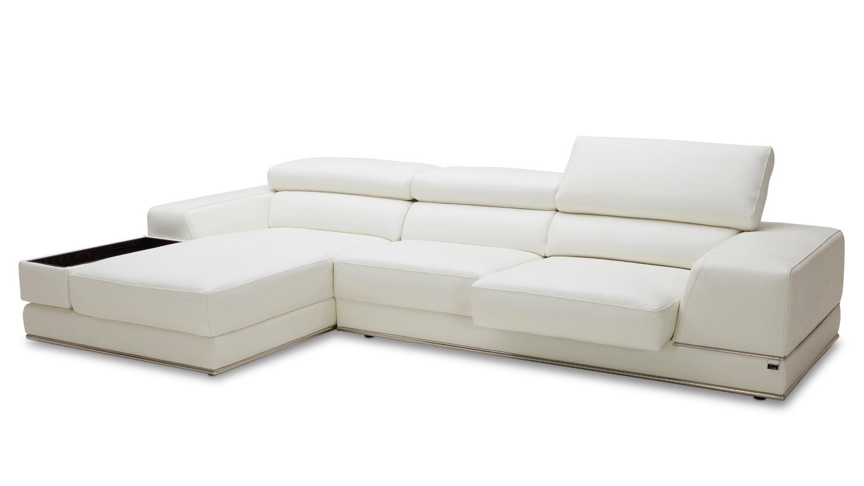 encore white leather sectional sofa zuri furniture. Black Bedroom Furniture Sets. Home Design Ideas