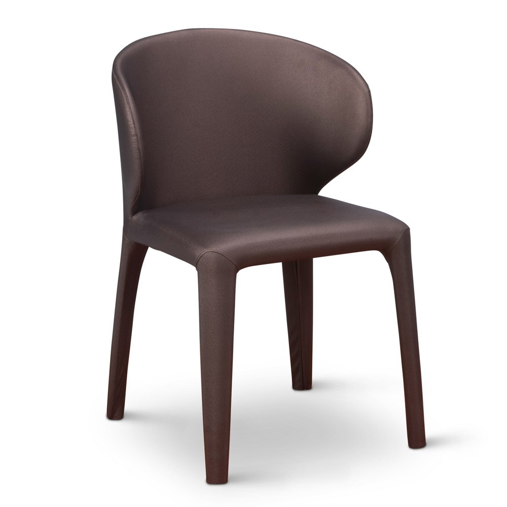 Contemporary Modern Dining Chairs: Enzo Modern Dining Chair With Curved Back - Brown