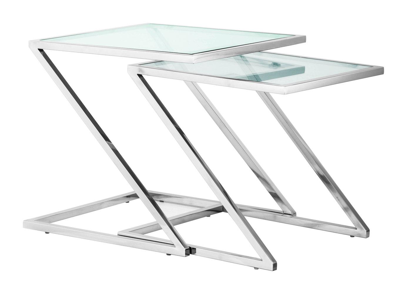 Erin Chromed Steel Nesting Side Table - Clear Glass