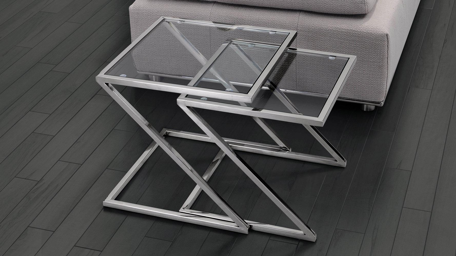 Erin Chromed Steel Nesting Side Table Clear Glass Zuri