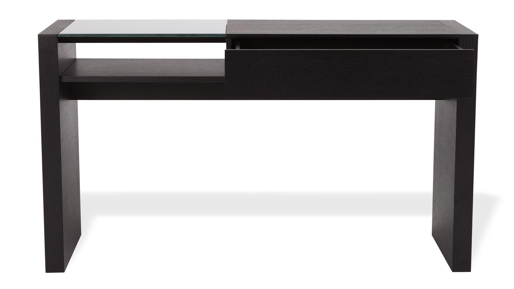 Beautiful Etta Black Oak Modern Console Table With Drawer And Glass Shelf | Zuri  Furniture