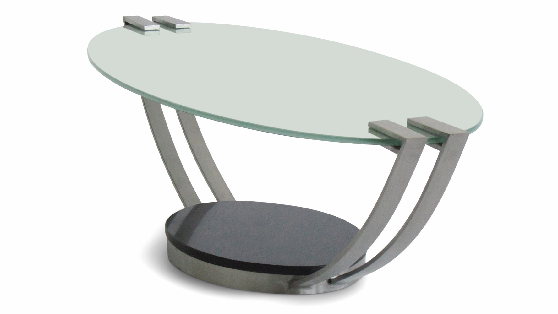 Evan Frosted Glass And Metal Contemporary Coffee Table
