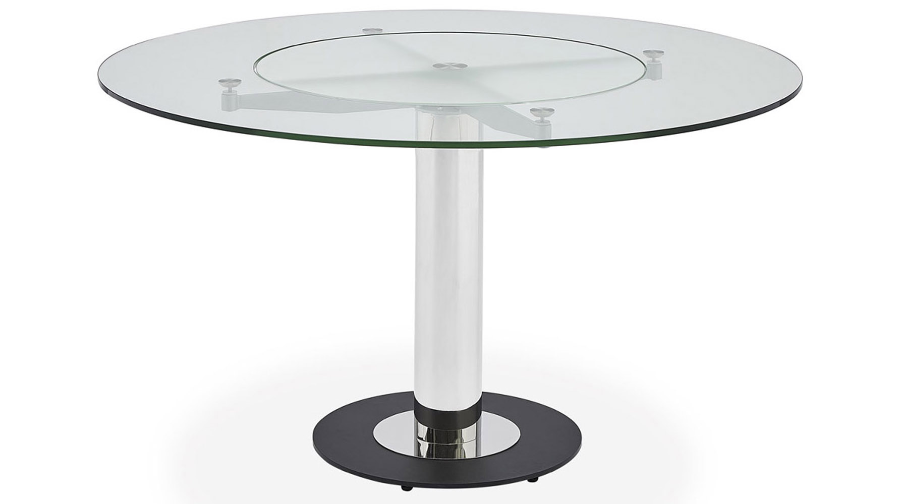 Fiore Modern Round Glass Dining Table With Chrome Base