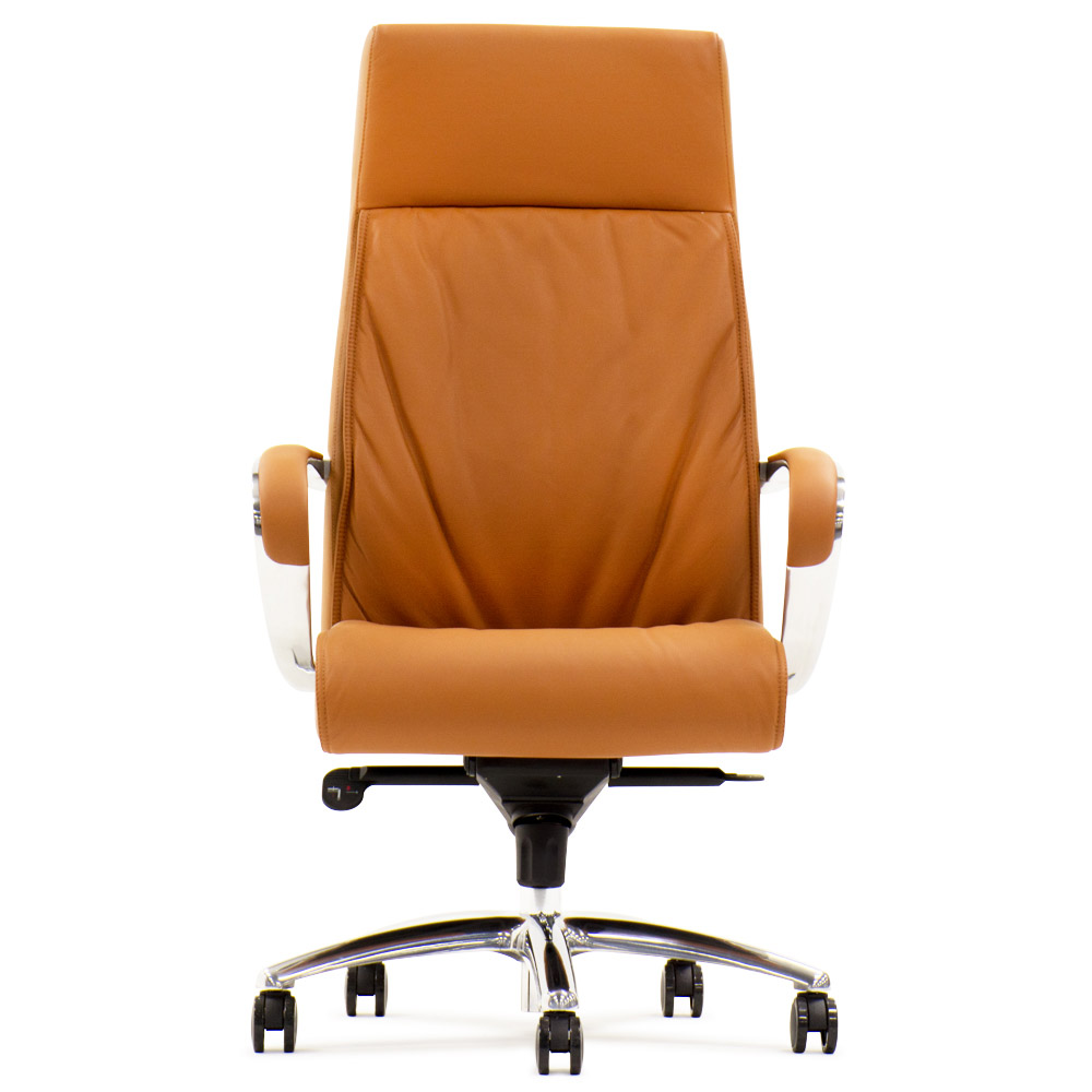 Forbes Genuine Leather Aluminum Base High Back Executive Chair Zuri Furniture