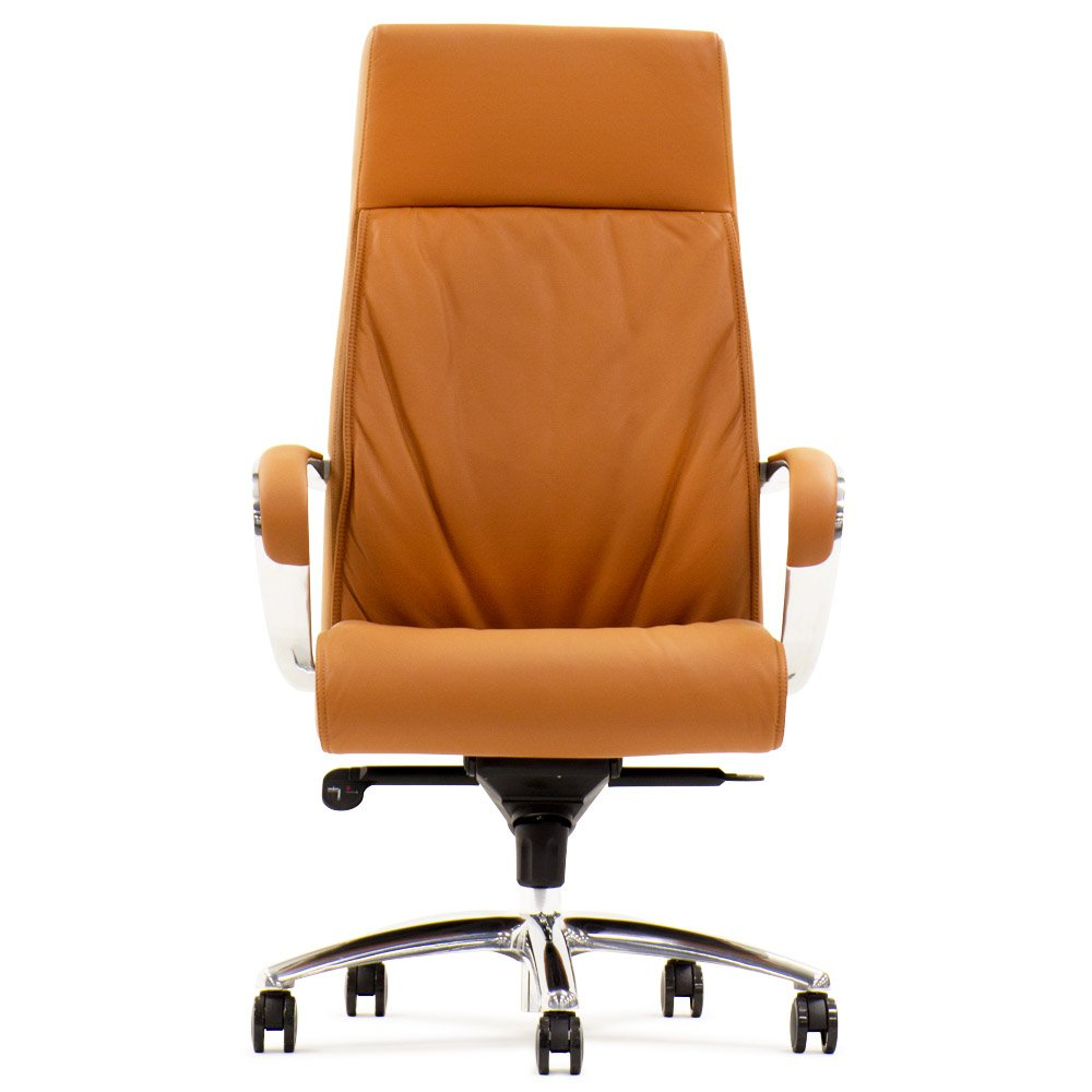 Forbes Genuine Leather Aluminum Base High Back Executive Chair   Tan | Zuri  Furniture