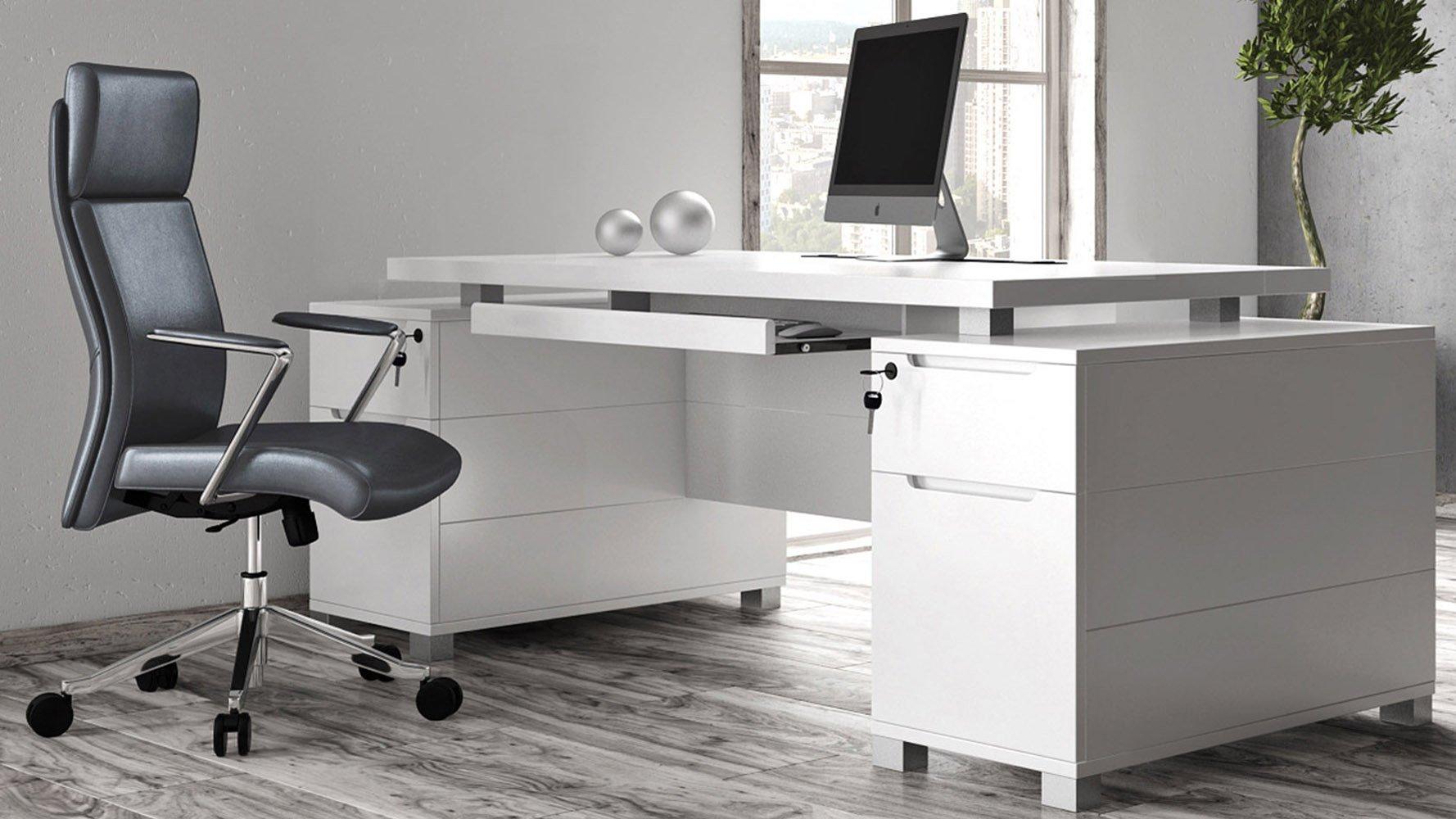 Ford White Executive Desk | Modern & Contemporary Office | Zuri Furniture