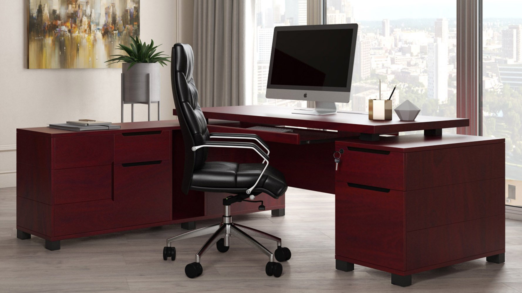 Ford Desk with Return - Mahogany
