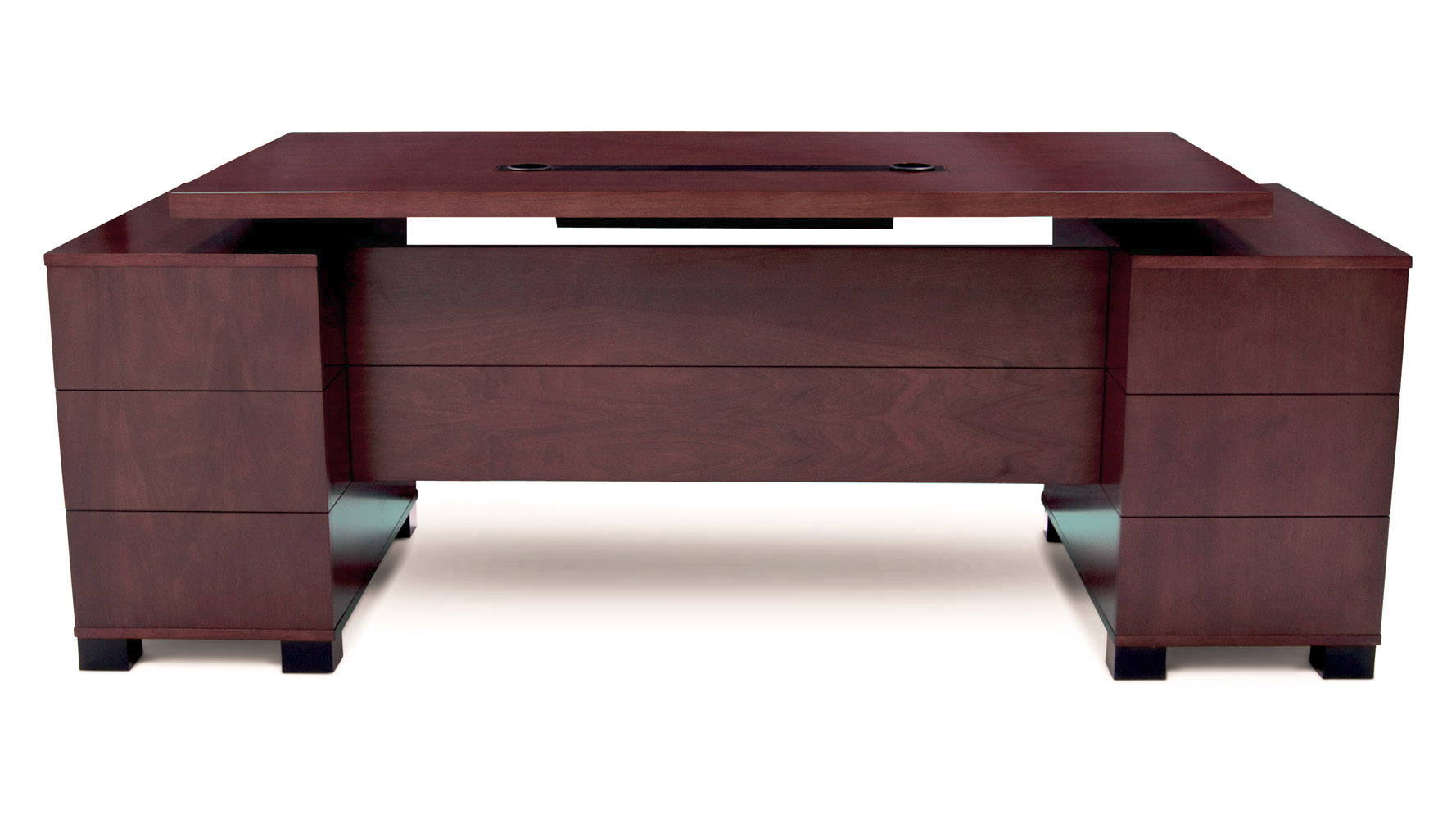 Modern Desk ford executive modern desk with filing cabinets - mahogany finish
