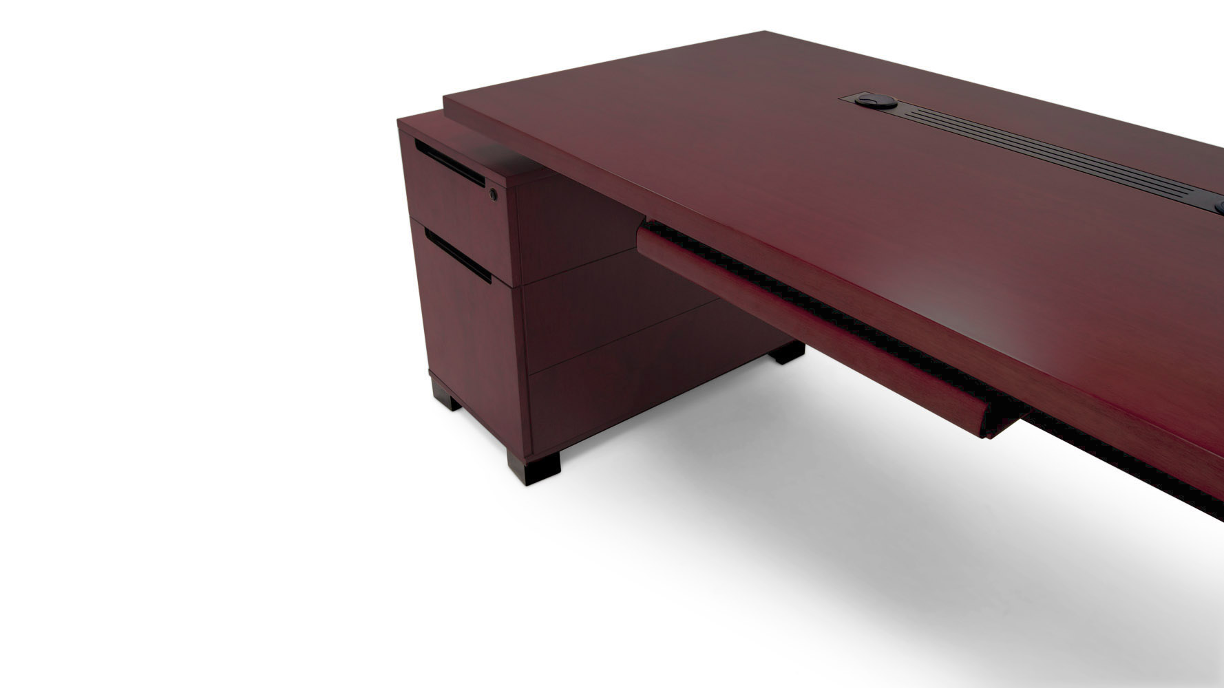 Ford Executive Modern Desk With Filing Cabinets Mahogany