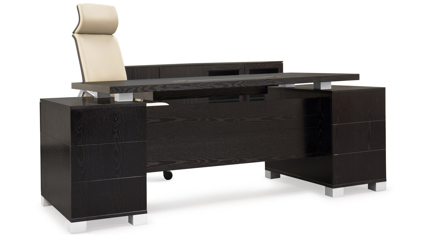 Tremendous Large Office Desk: Ford Executive Modern Desk With Filing Cabinets