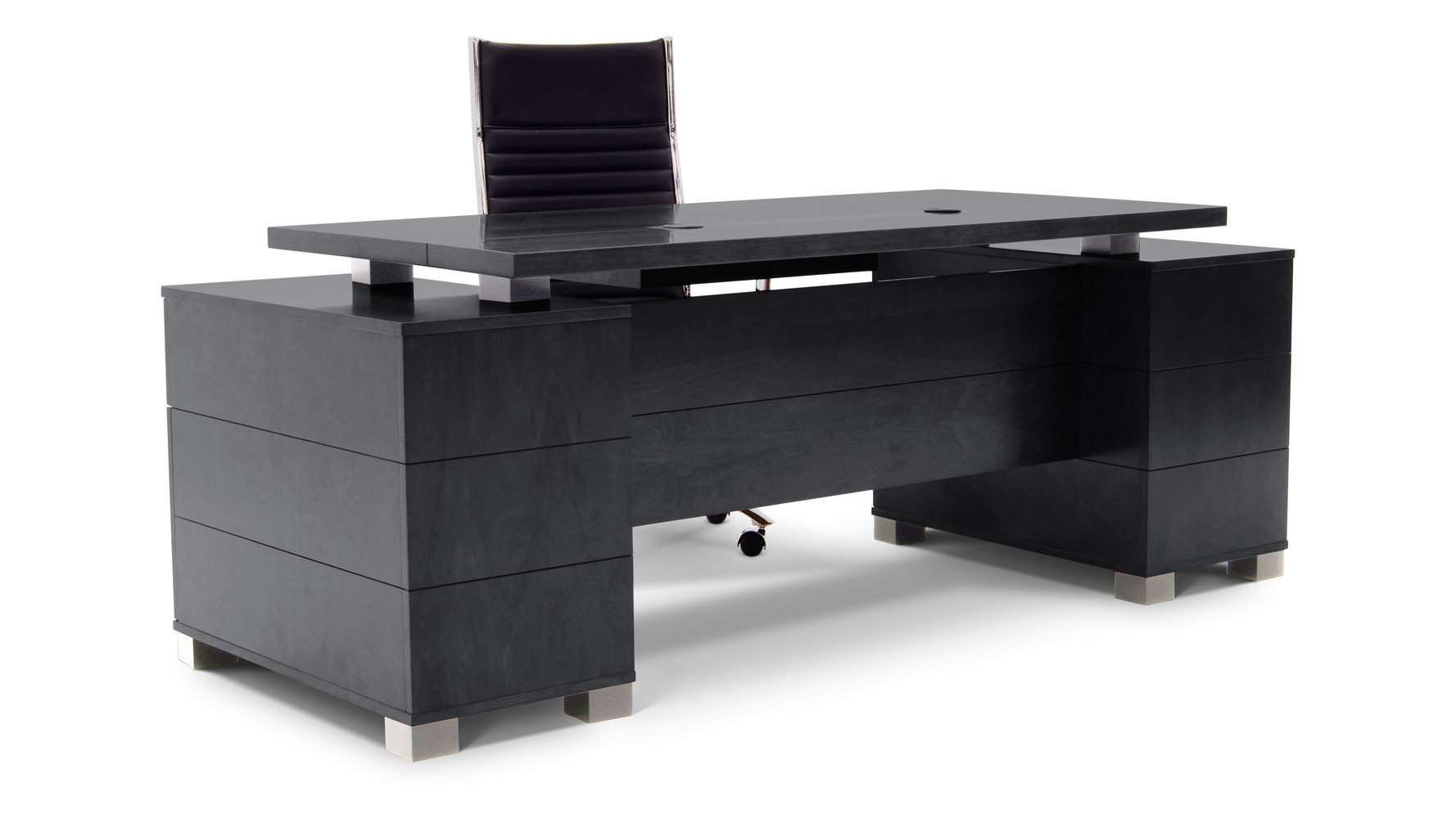 Ford Executive Modern Desk With Filing Cabinets Black