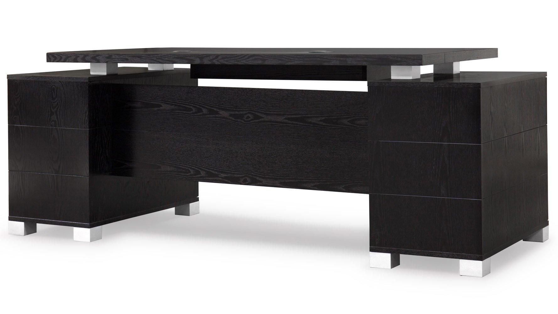ford executive modern desk with filing cabinets black oak finish zuri furniture. Black Bedroom Furniture Sets. Home Design Ideas