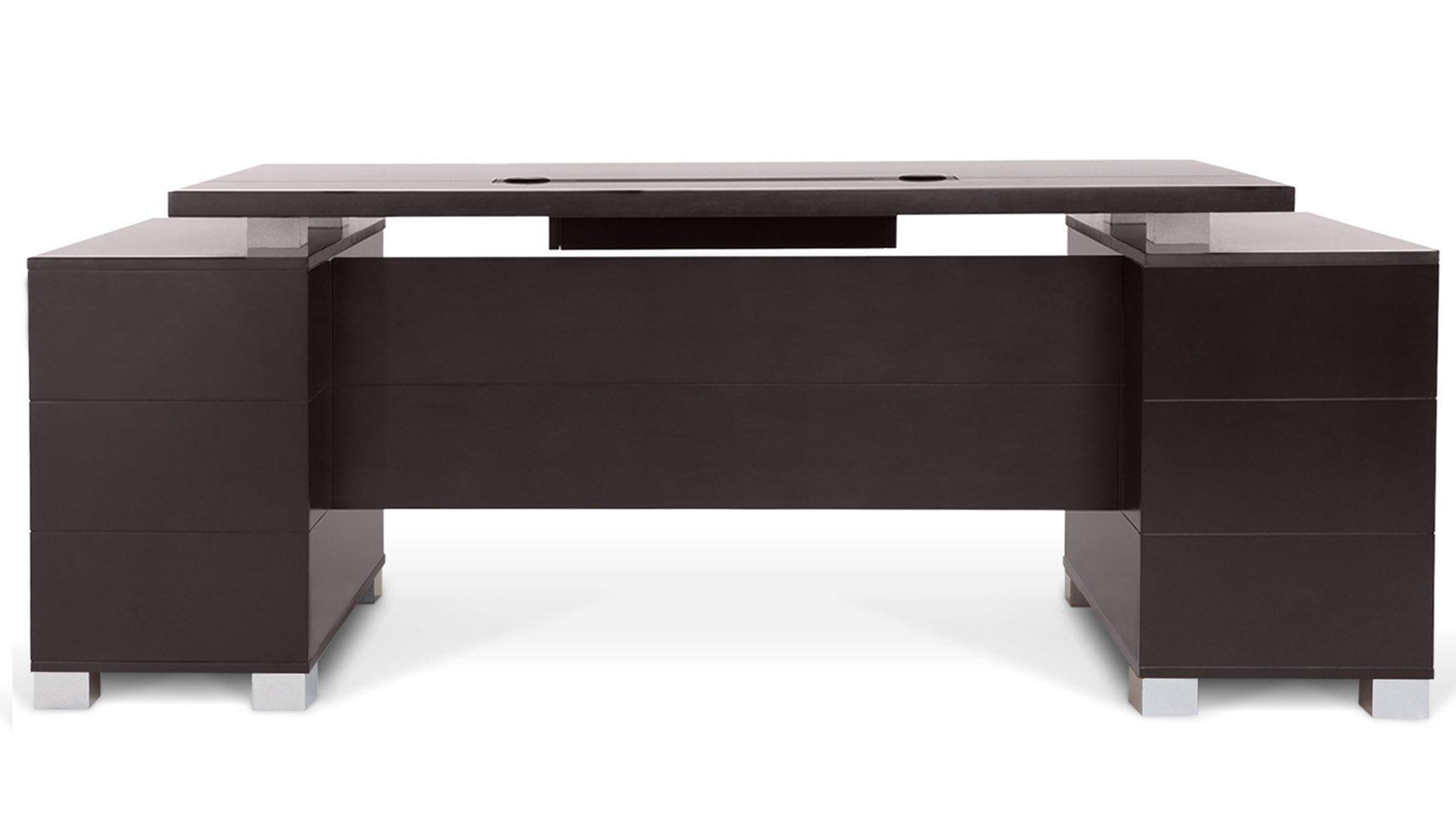 Ford executive modern desk with filing cabinets dark for Modern hardwood desk