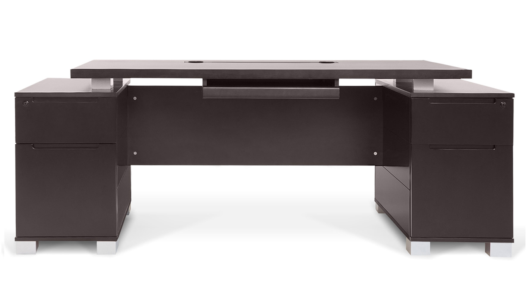 wood office table. Ford Executive Modern Desk With Filing Cabinets - Dark Wood Finish | Zuri Furniture Office Table B