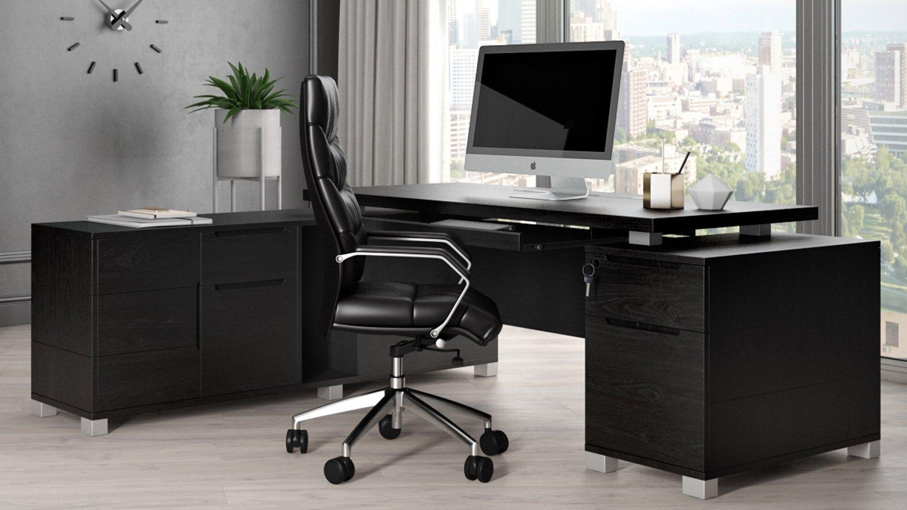 Ford Desk with Return - Black