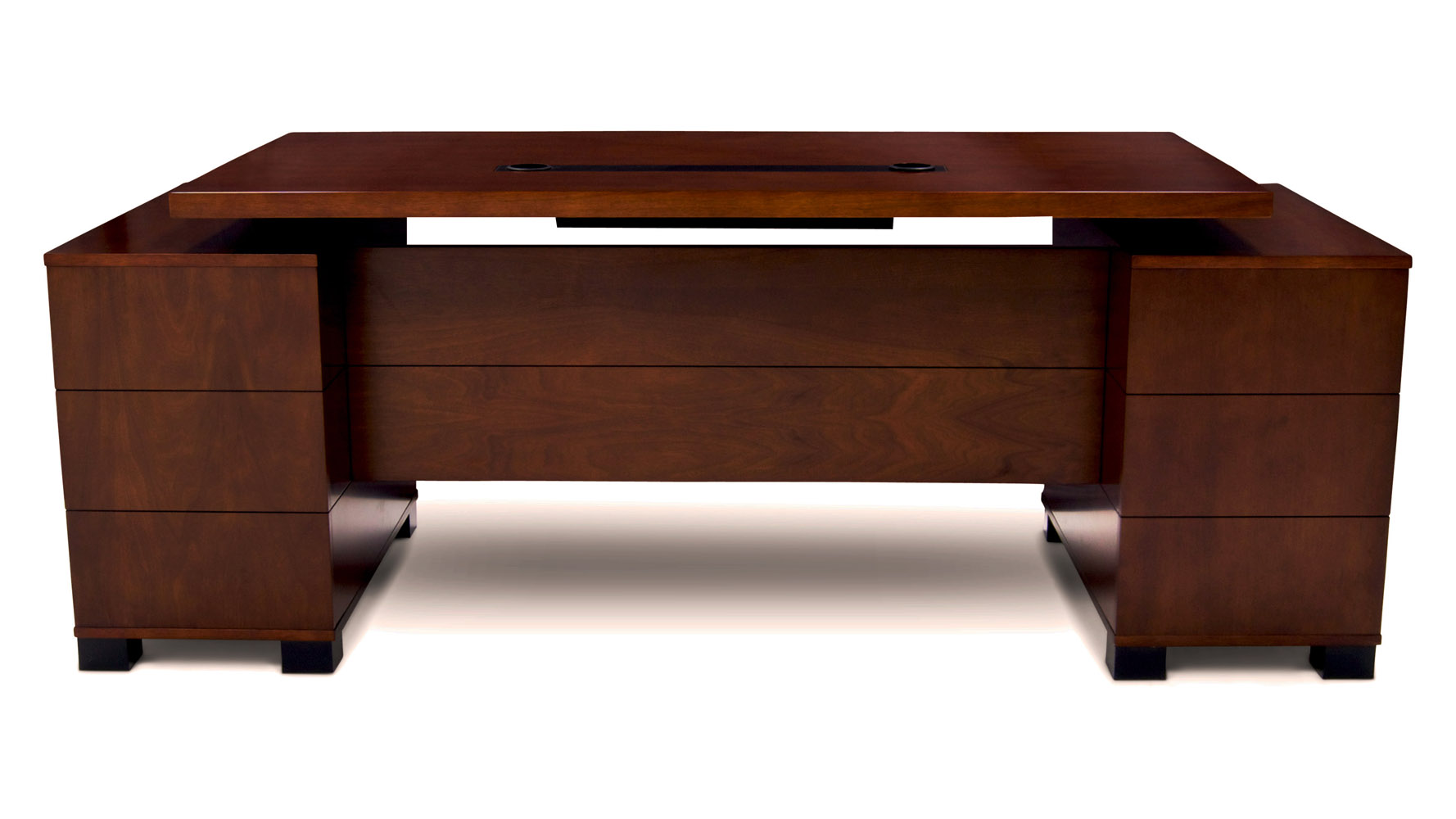 Ford Executive Modern Desk With Filing Cabinets Light Walnut Finish Zuri Furniture