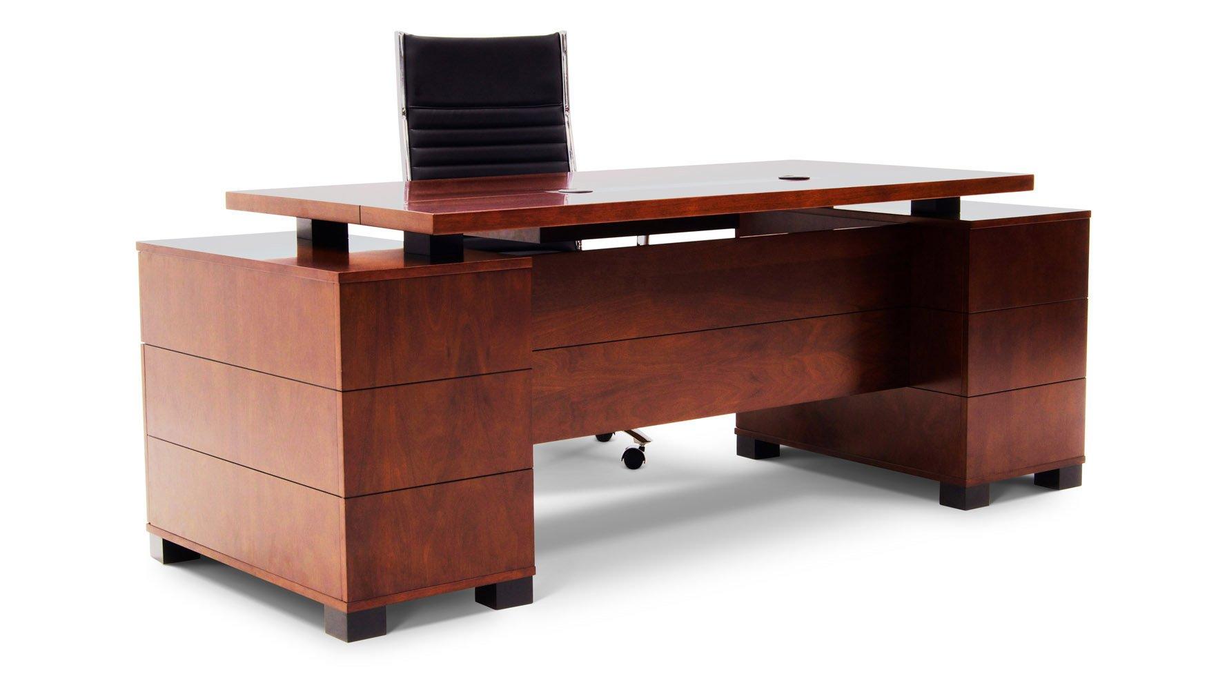 ford executive modern desk with filing cabinets light walnut finish zuri furniture. Black Bedroom Furniture Sets. Home Design Ideas