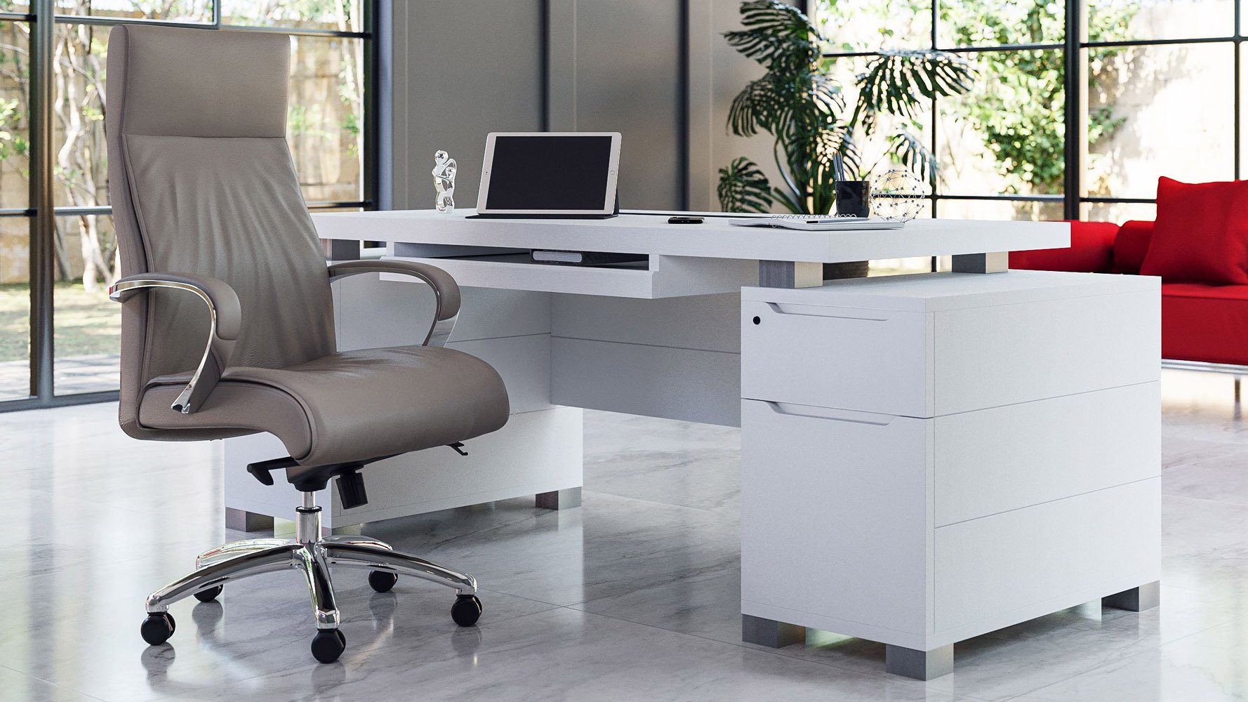 Image of: Ford White Executive Desk Modern Contemporary Office Zuri Furniture