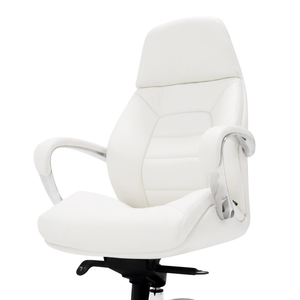 Gates Genuine Leather Aluminum Base High Back Executive Chair - White leather office chairs
