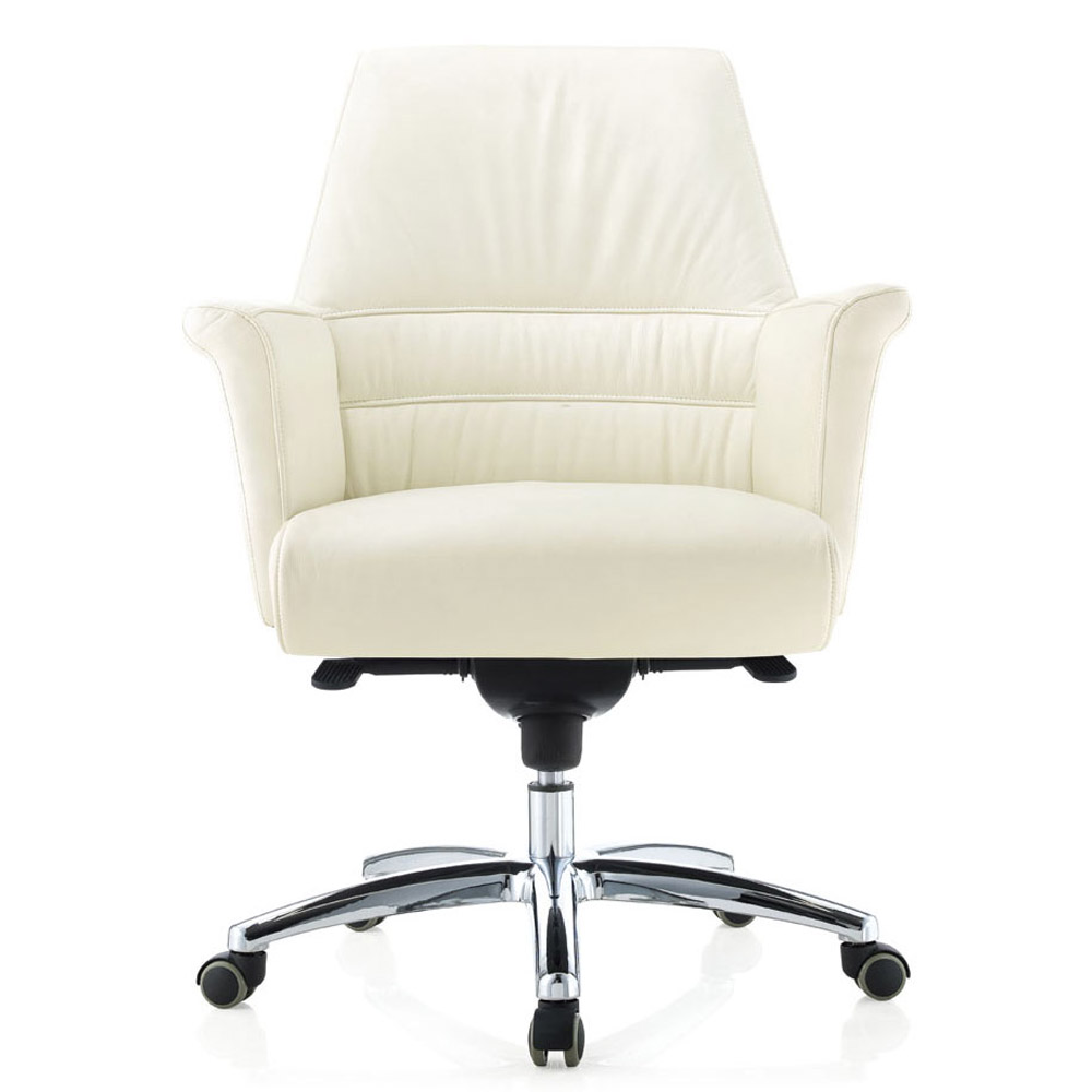 Geffen genuine leather aluminum base low back executive for Home office chairs leather