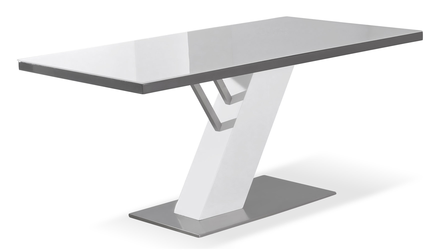 White and Grey Lacquer Top with Stainless Steel Base  : gray lacquer top with stainless steel base modern chevre dining table t9750gy from www.zurifurniture.com size 1778 x 1000 jpeg 100kB