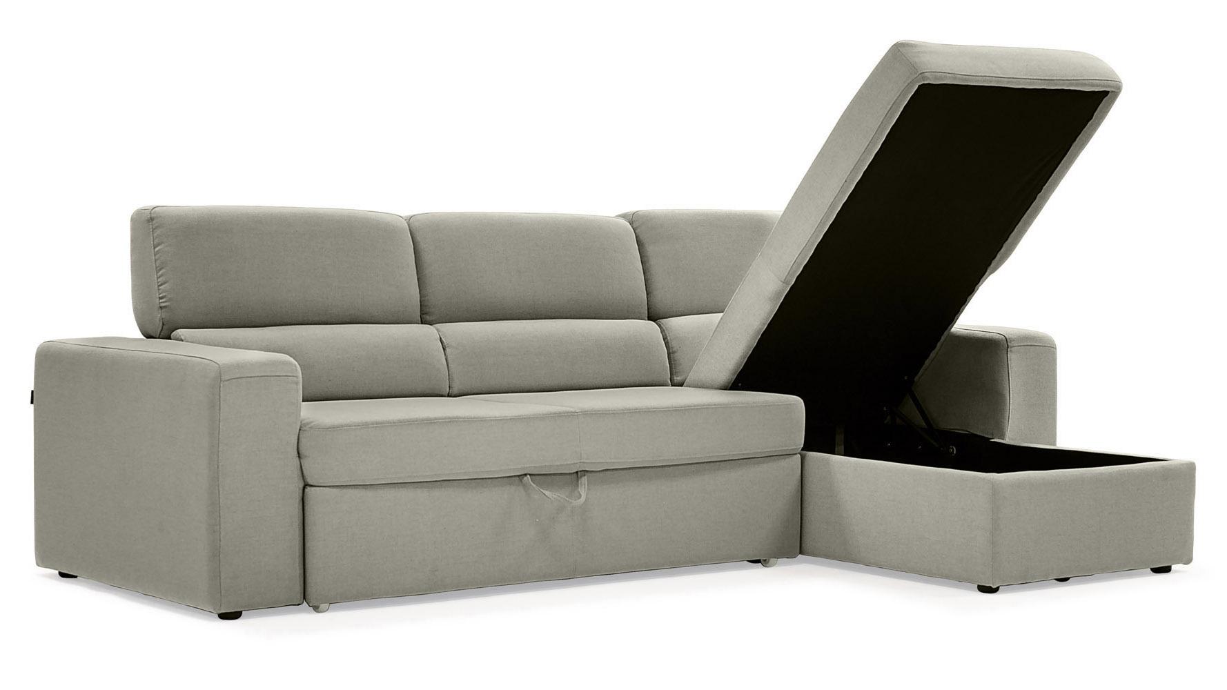 Light Gray Clubber Sleeper Sectional Sofa Zuri Furniture