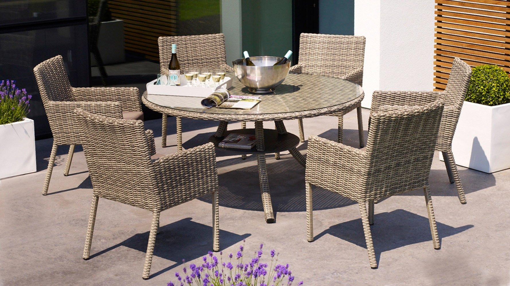 Greywash Rattan Allegra Outdoor Dining Set With Grey Cushions Zuri Furniture