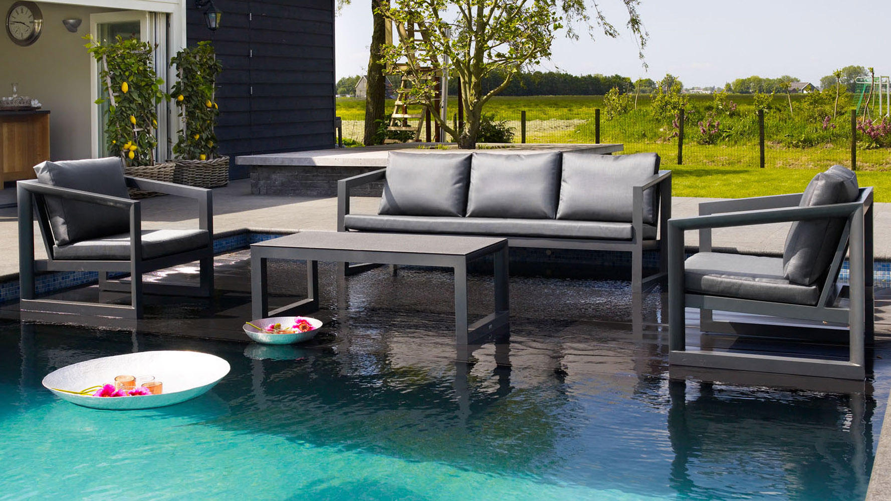 Wundervoll Greywash Rattan Coco Outdoor Lounge Set With Grey Cushions | Zuri Furniture