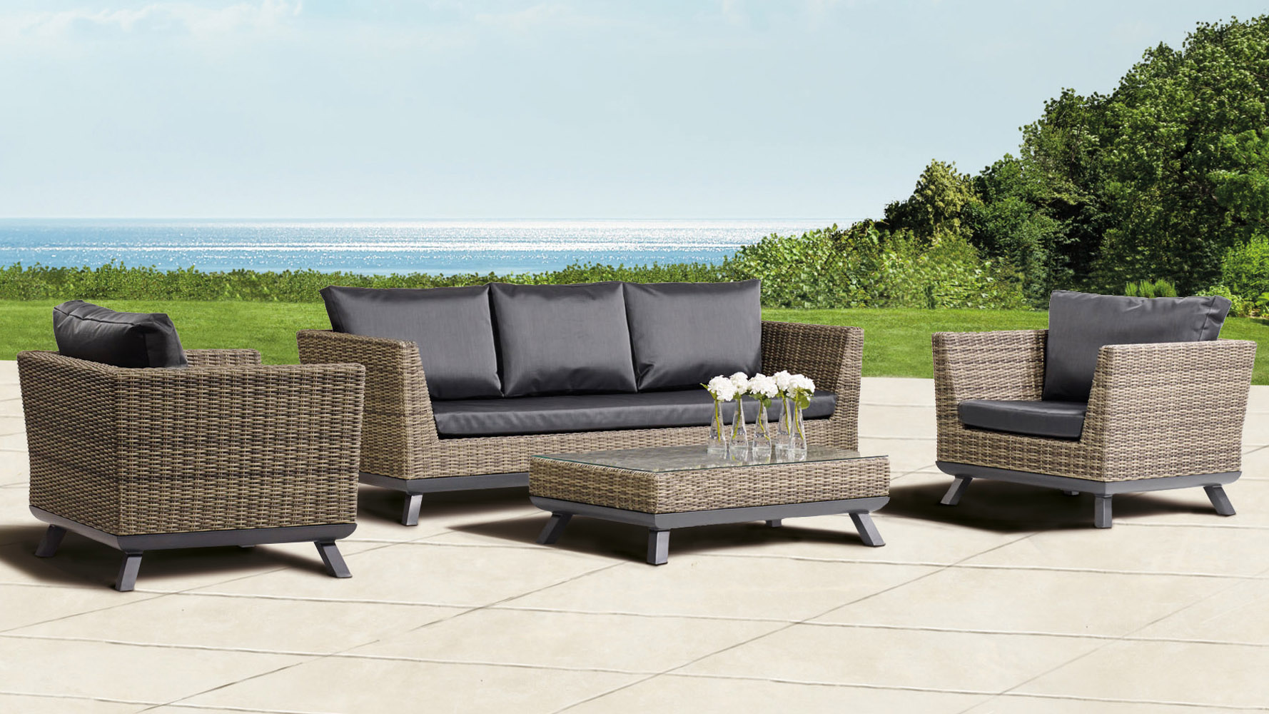 Greywash Rattan Pandora Outdoor Lounge Set With Black