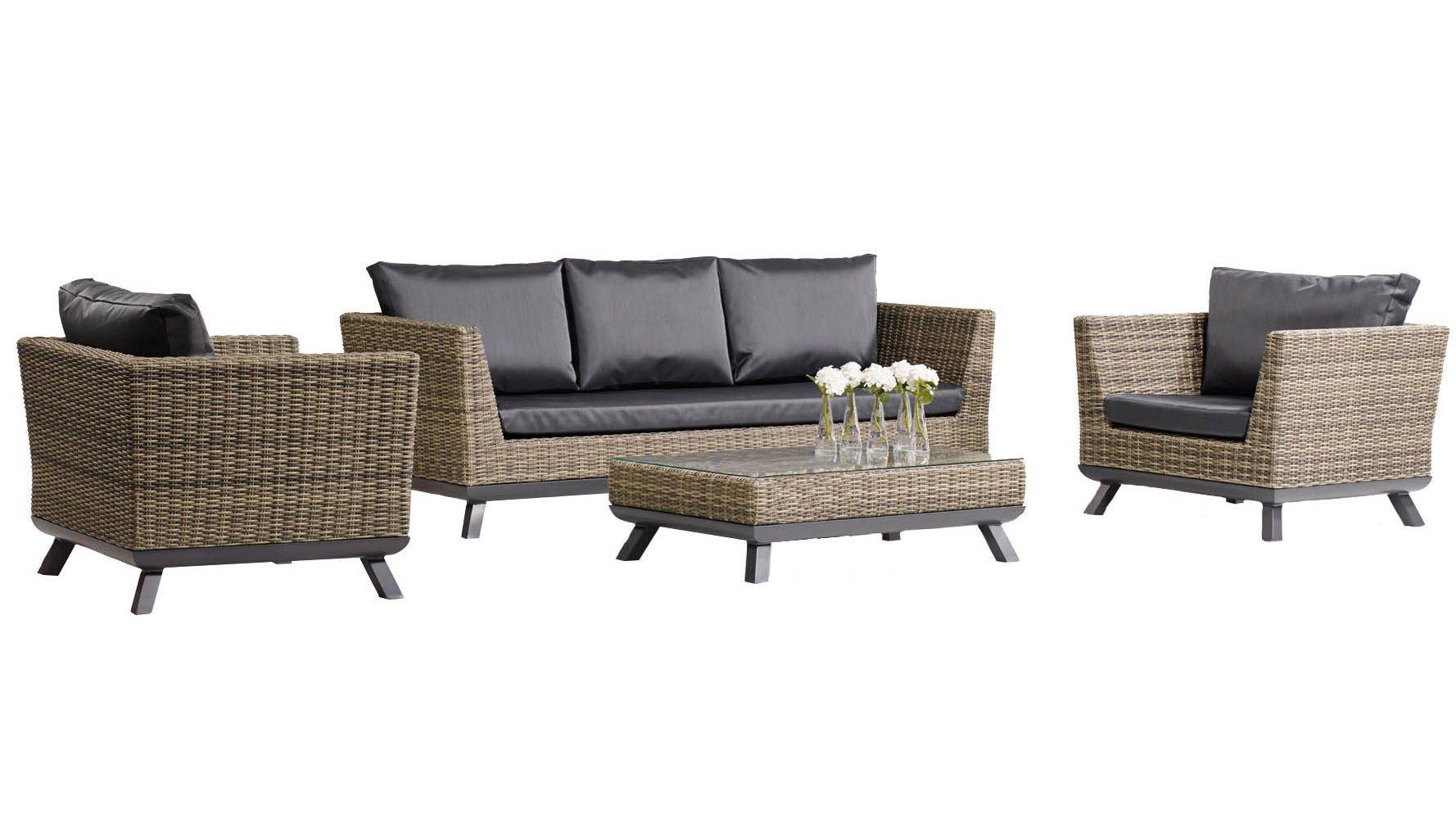 Greywash Rattan Pandora Outdoor Lounge Set with Black ...