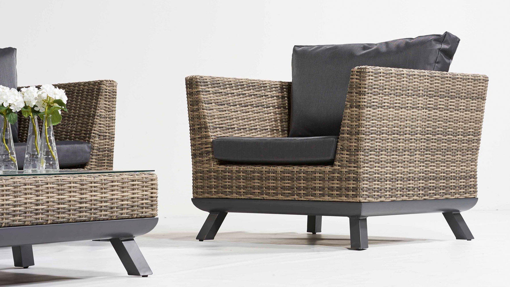 greywash rattan pandora outdoor lounge set with black cushions zuri furniture. Black Bedroom Furniture Sets. Home Design Ideas
