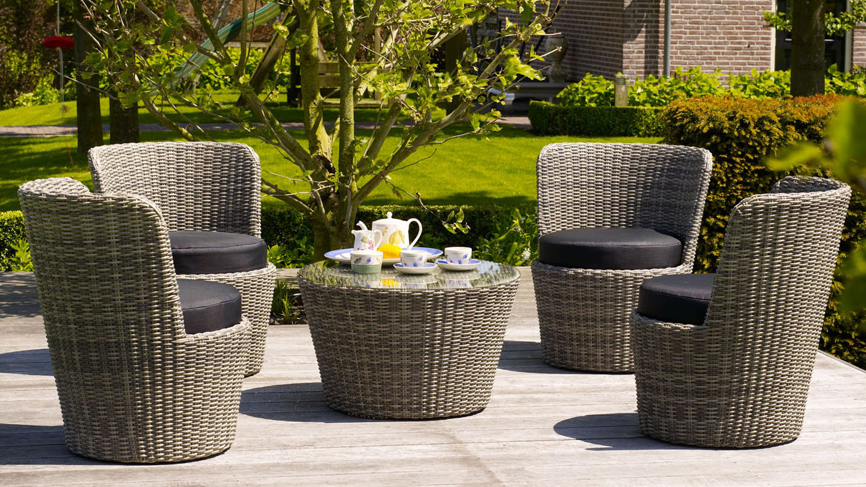 Greywash Rattan Stacking Artic Outdoor Lounge Set With