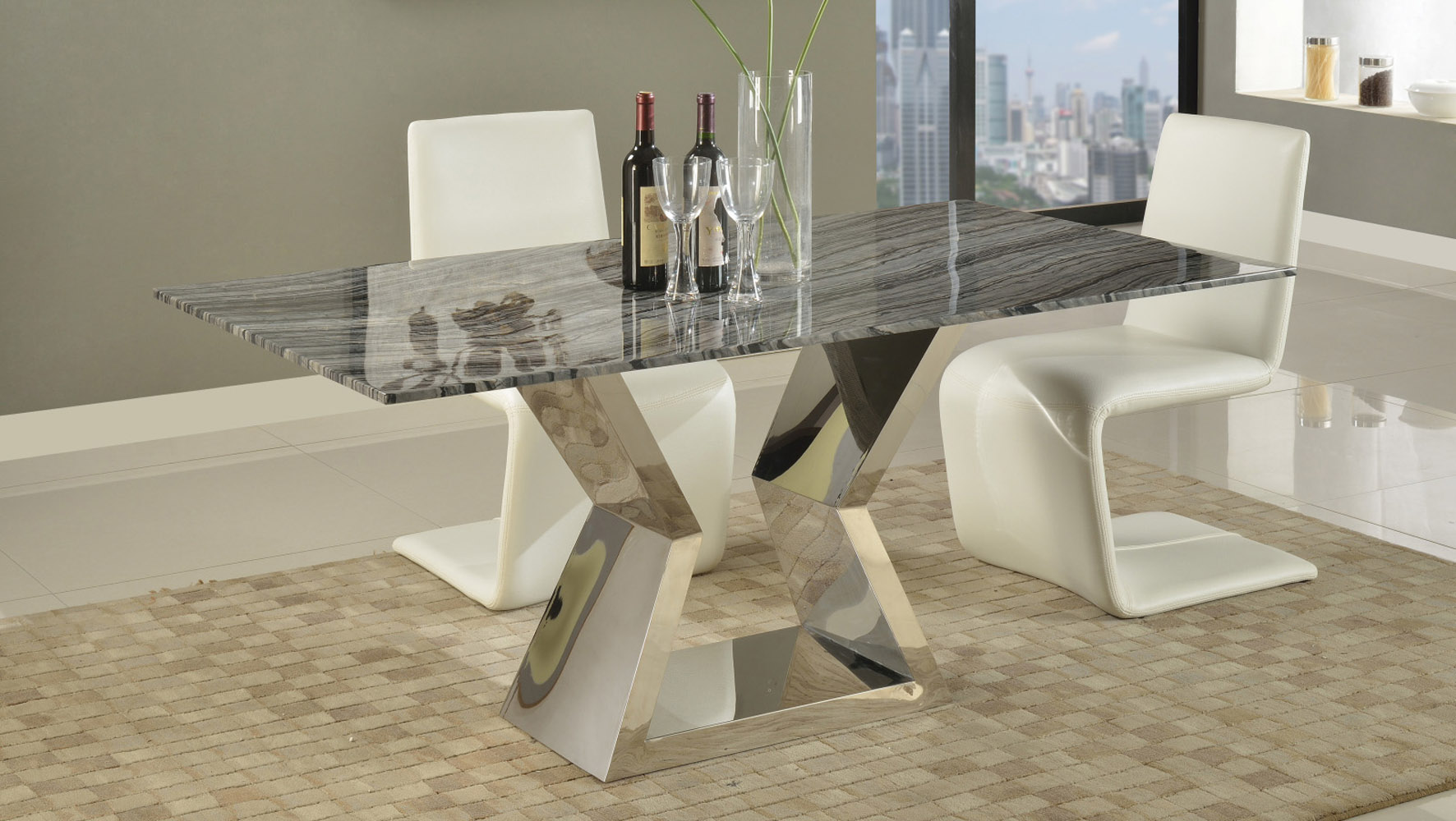 Grigio 71 Inch Grey Marble Dining Table With Polished Stainless Steel Base Zuri Furniture