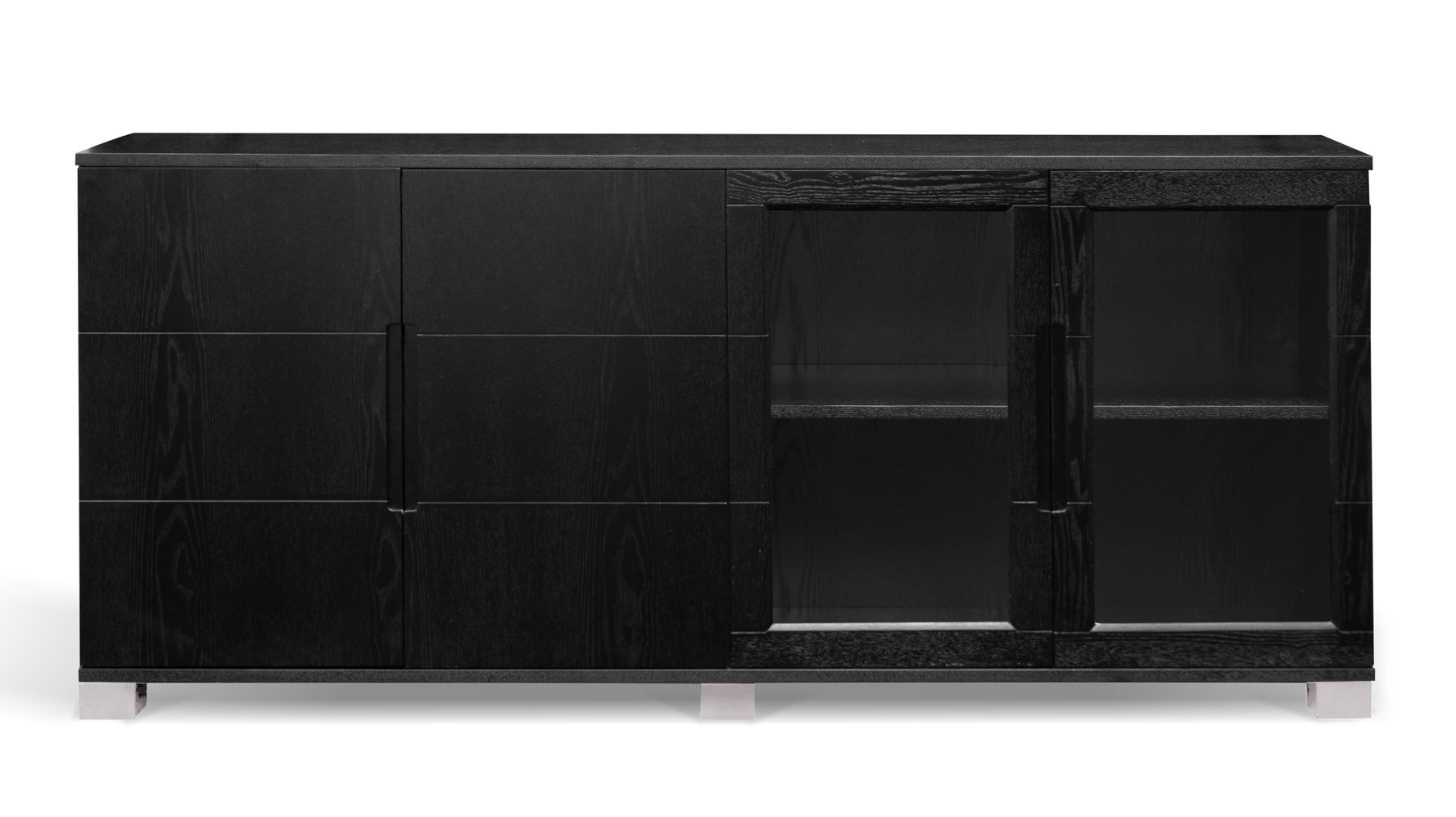 Hayes Modern Cabinet - Black Oak with Glass Doors | Zuri Furniture