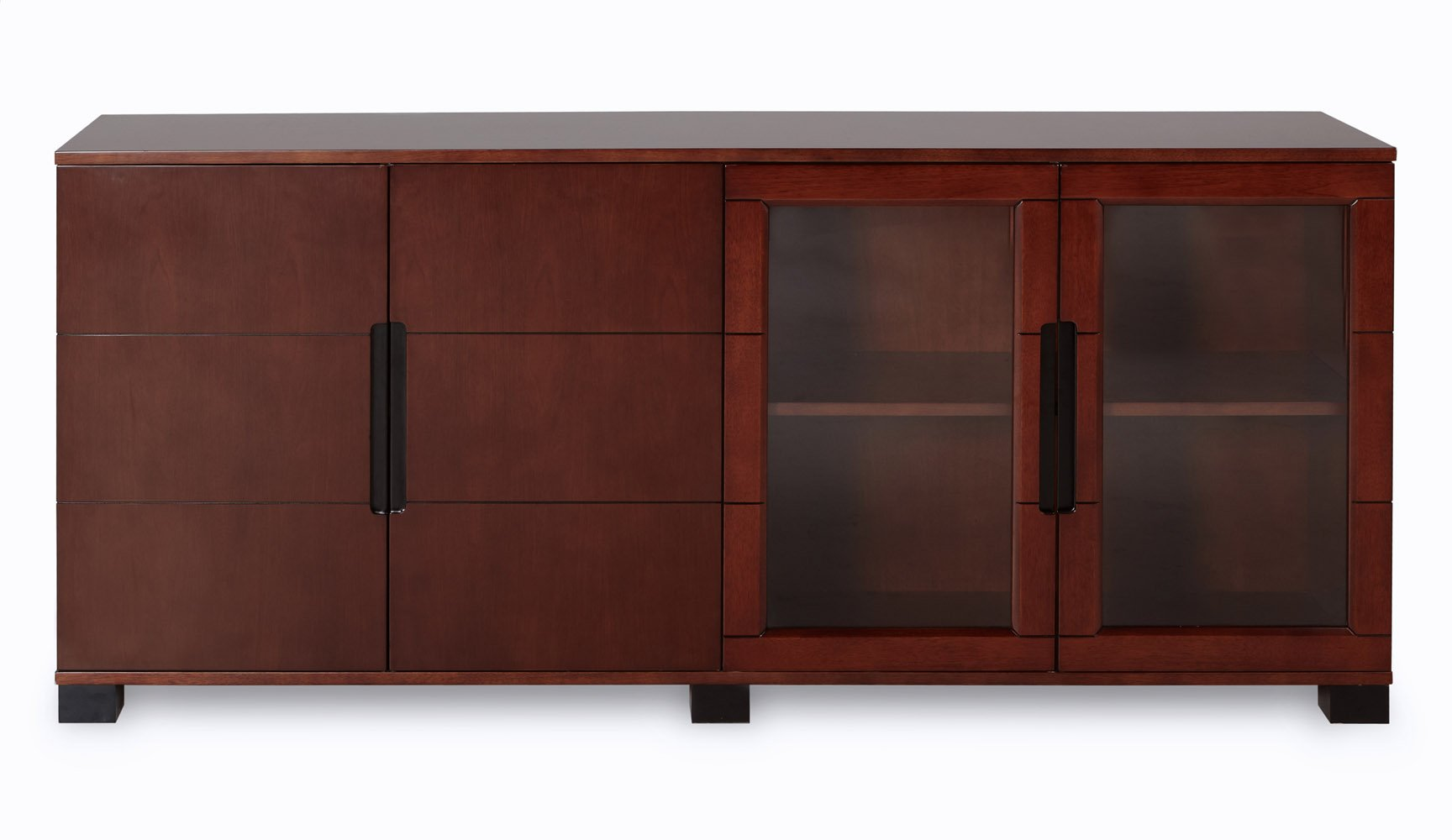 Hayes Executive Cabinet With Walnut Wood And Glass Doors Zuri Furniture