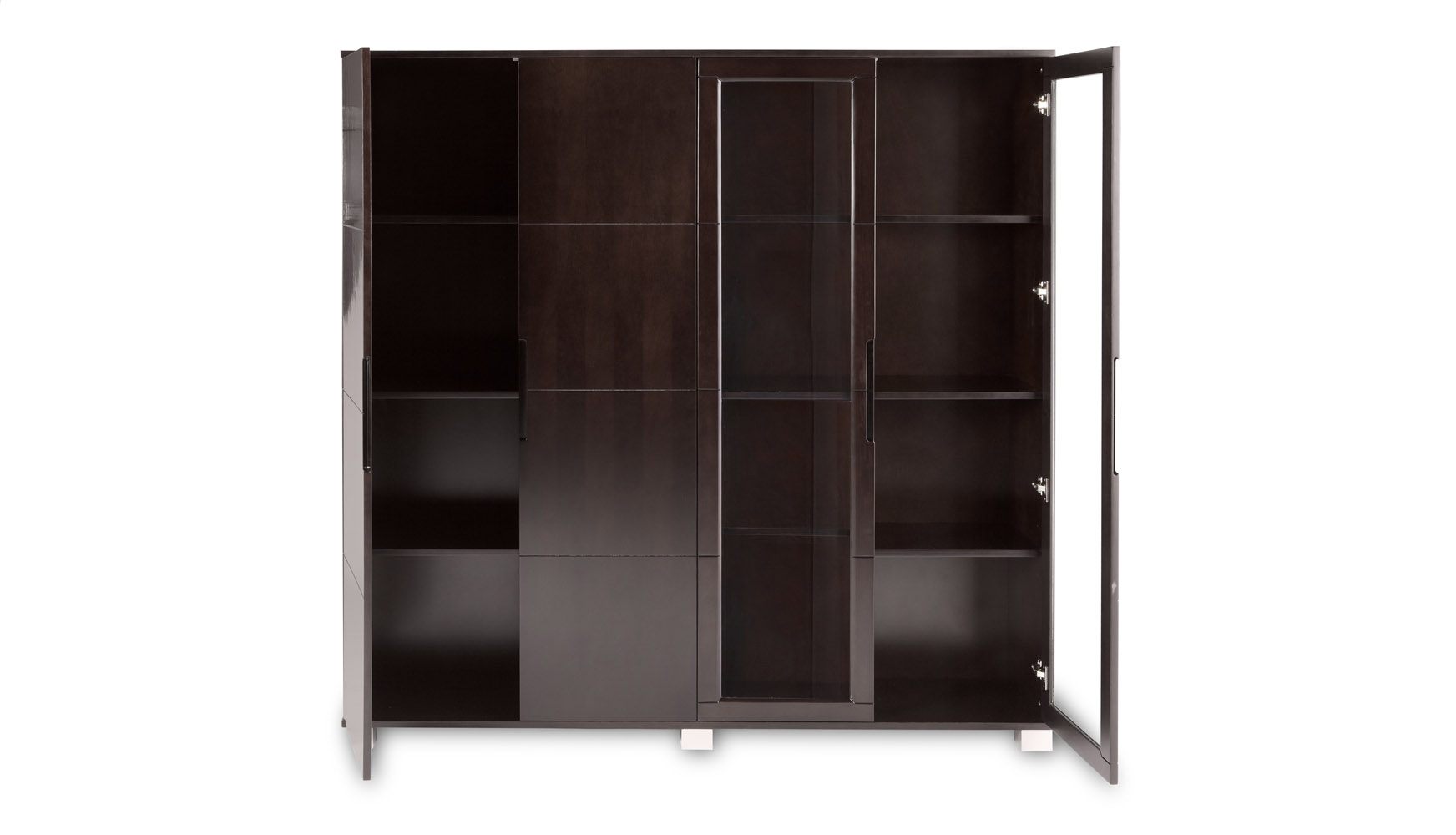 Hayes Modern Executive Wall Unit With Glass Doors And Shelving Zuri Furniture