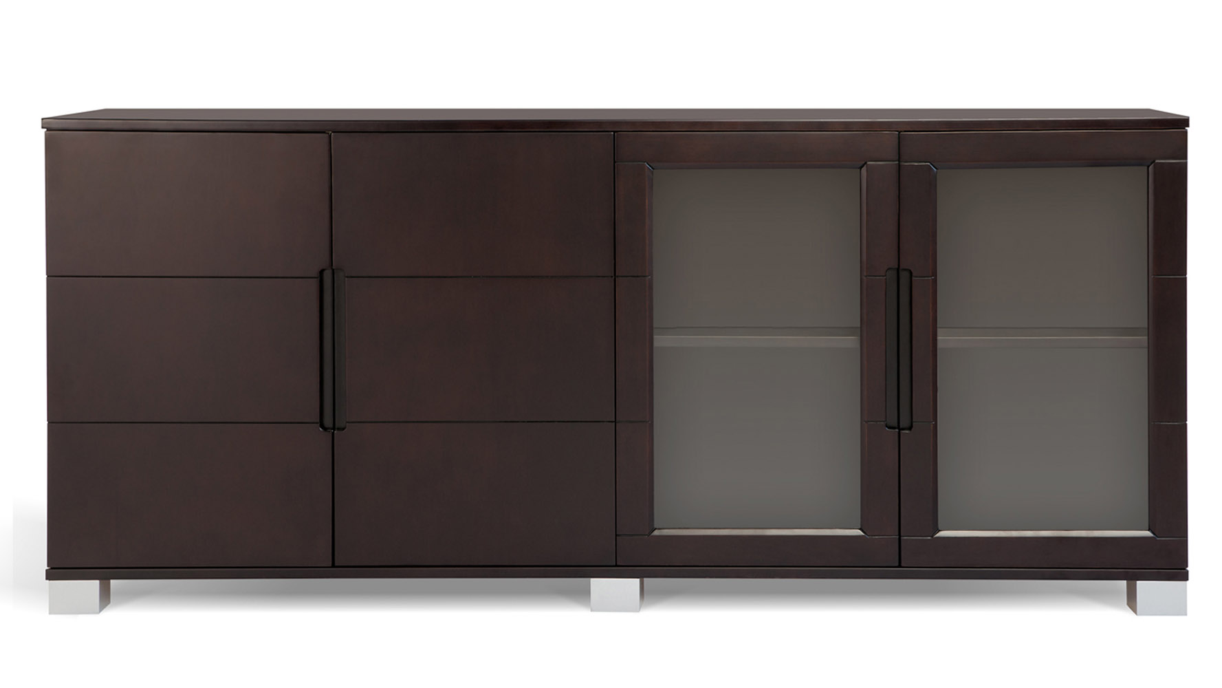 Hayes Modern Cabinet Dark Oak With Glass Doors Zuri Furniture