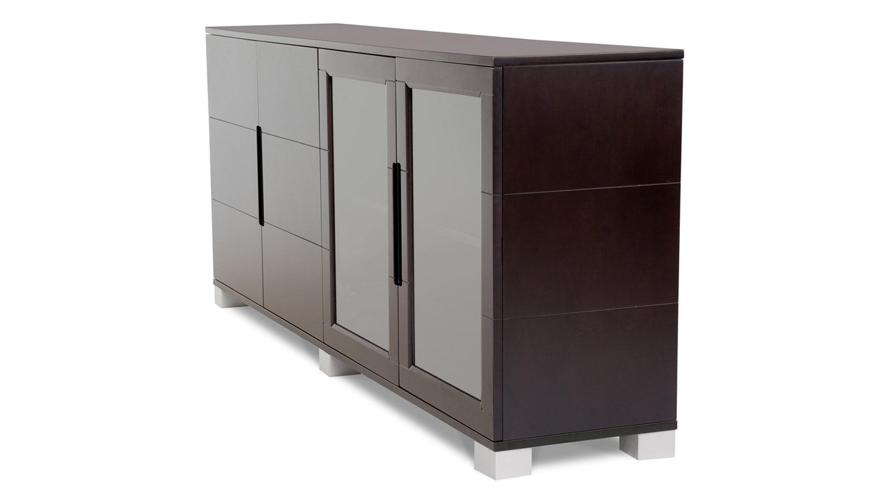 Hayes Modern Cabinet Dark Oak With Glass Doors Zuri