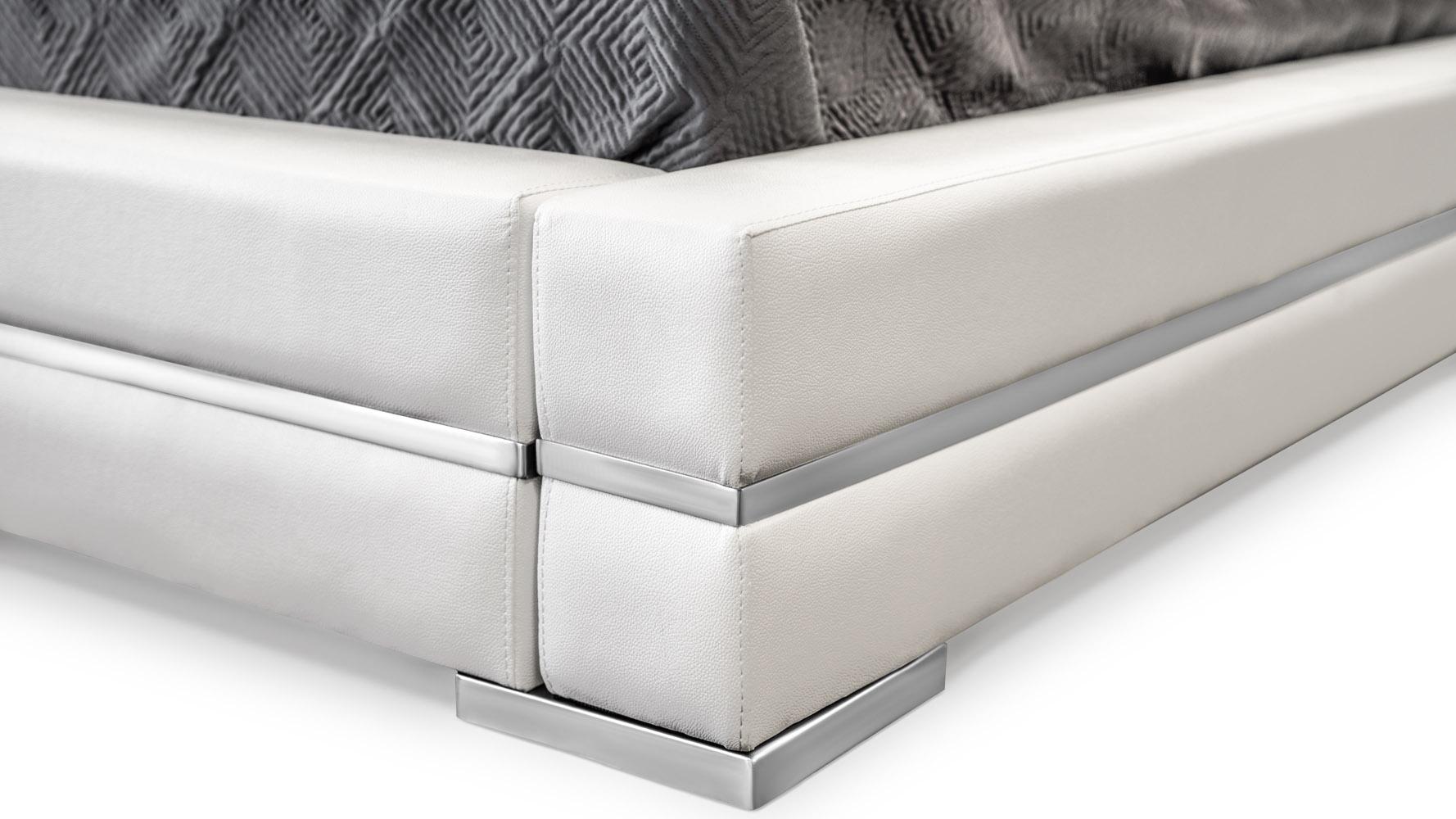 hera white leather platform bed  zuri furniture - hera leather bed