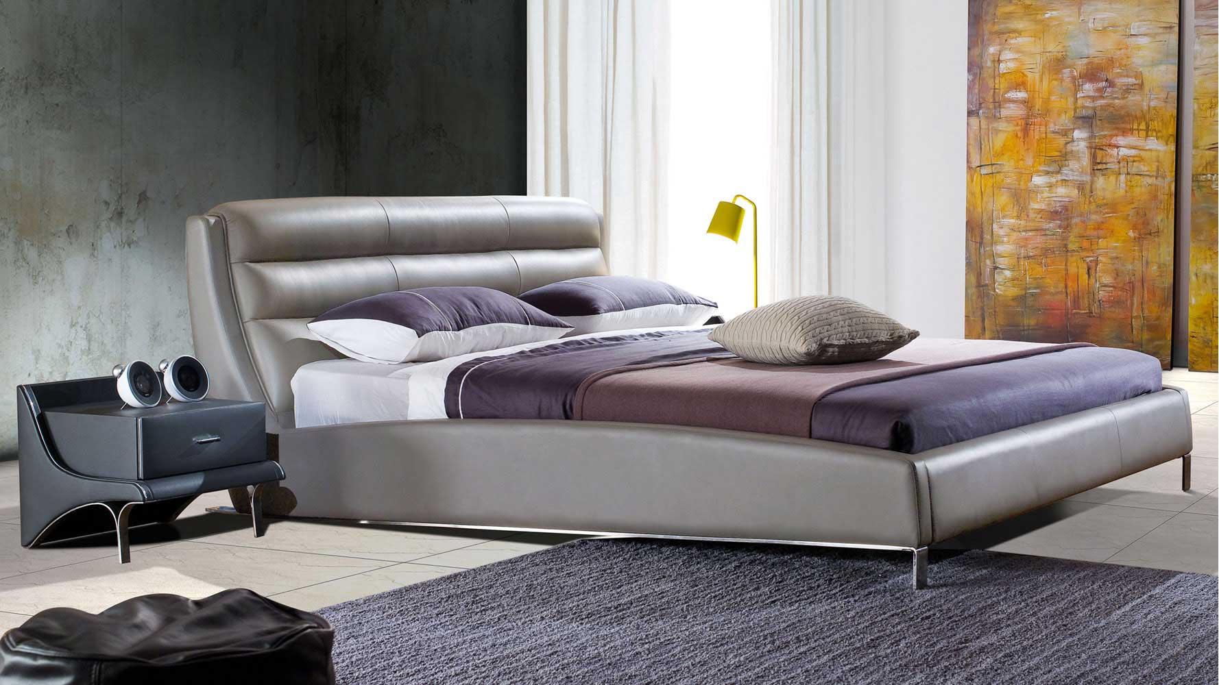 Hermes Grey Leather Platform Bed