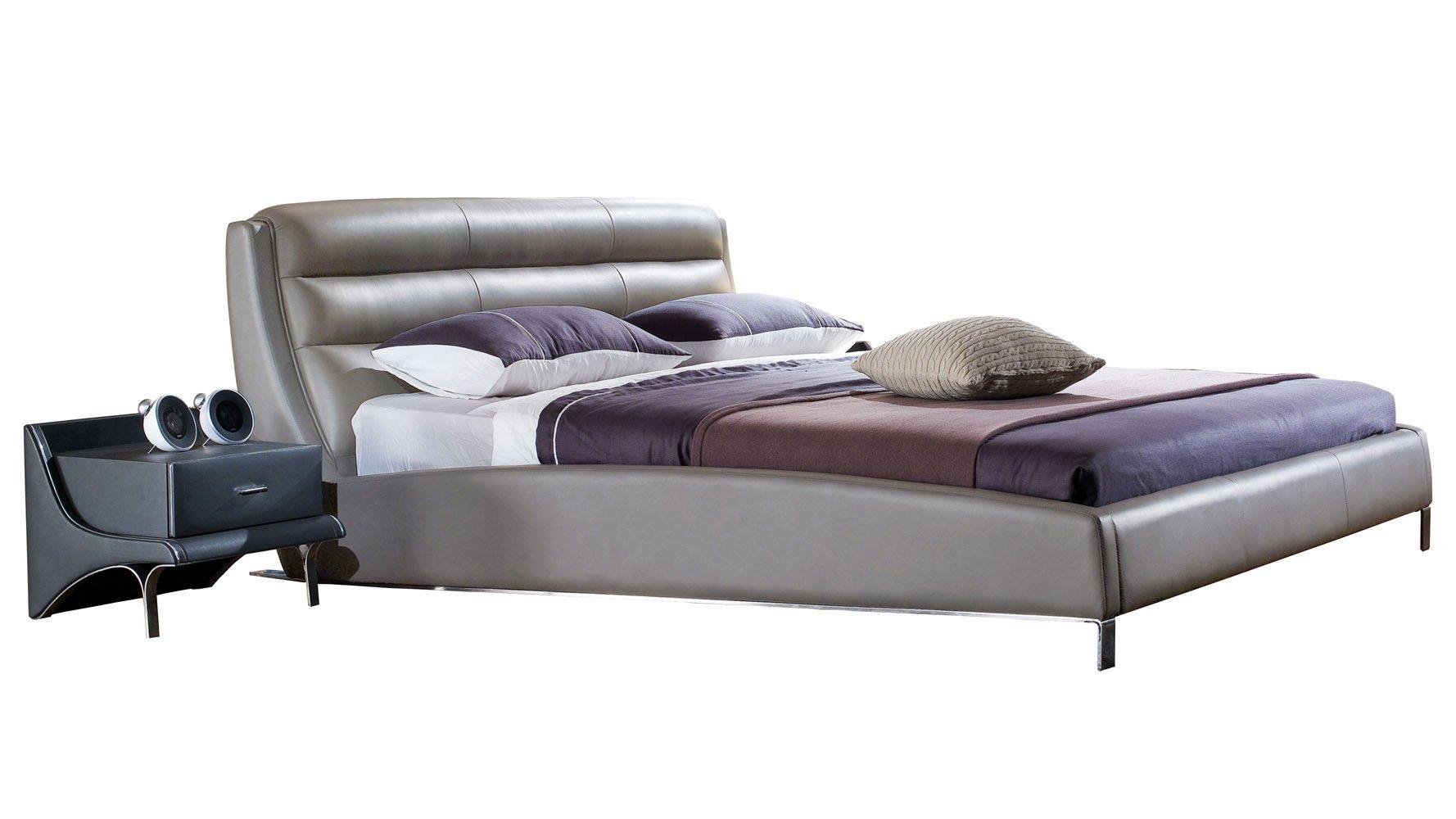 Hermes Grey Leather Platform Bed Zuri Furniture