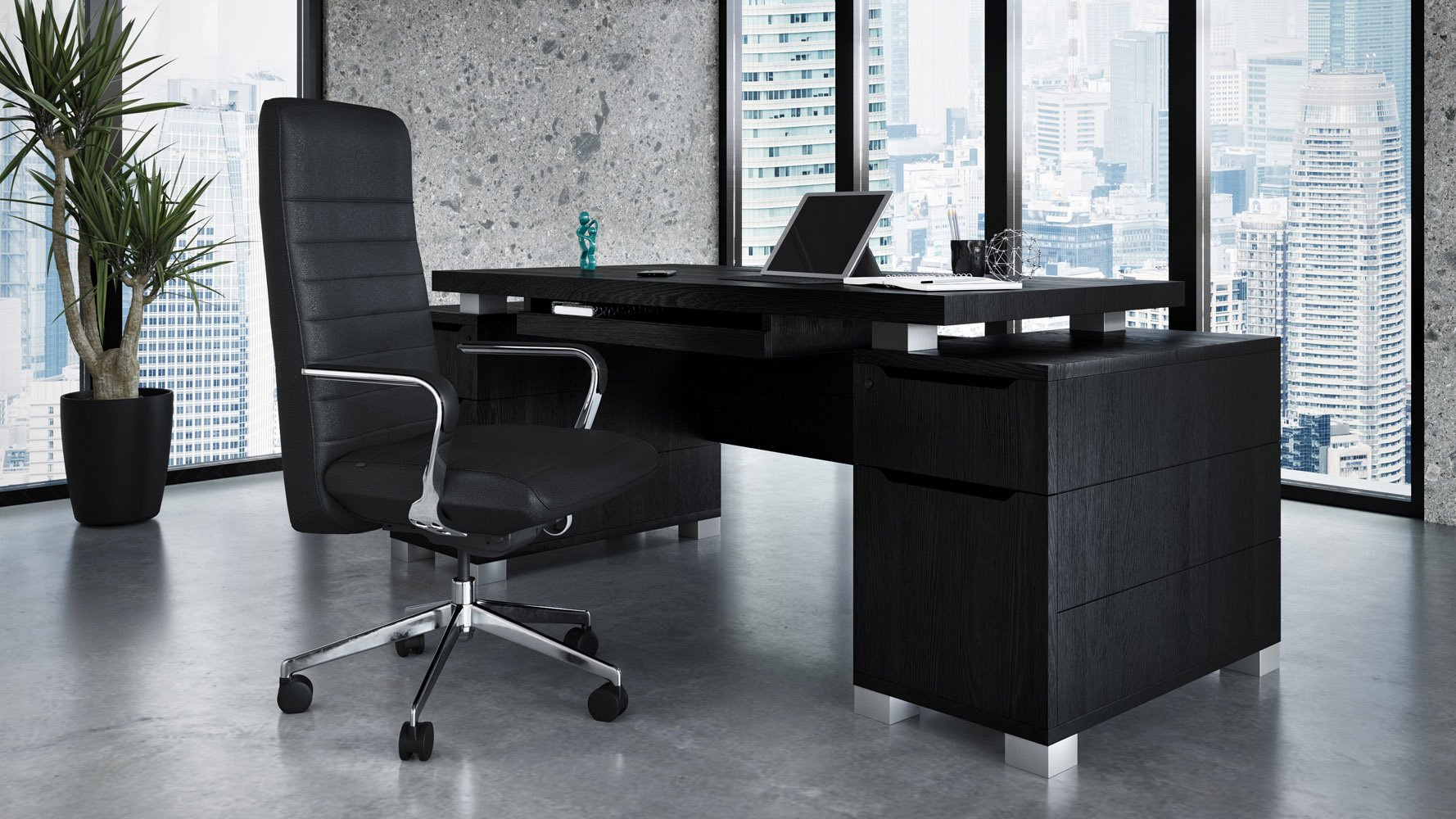 Ford Black Wood Executive Desk Modern Contemporary Office Zuri Furniture