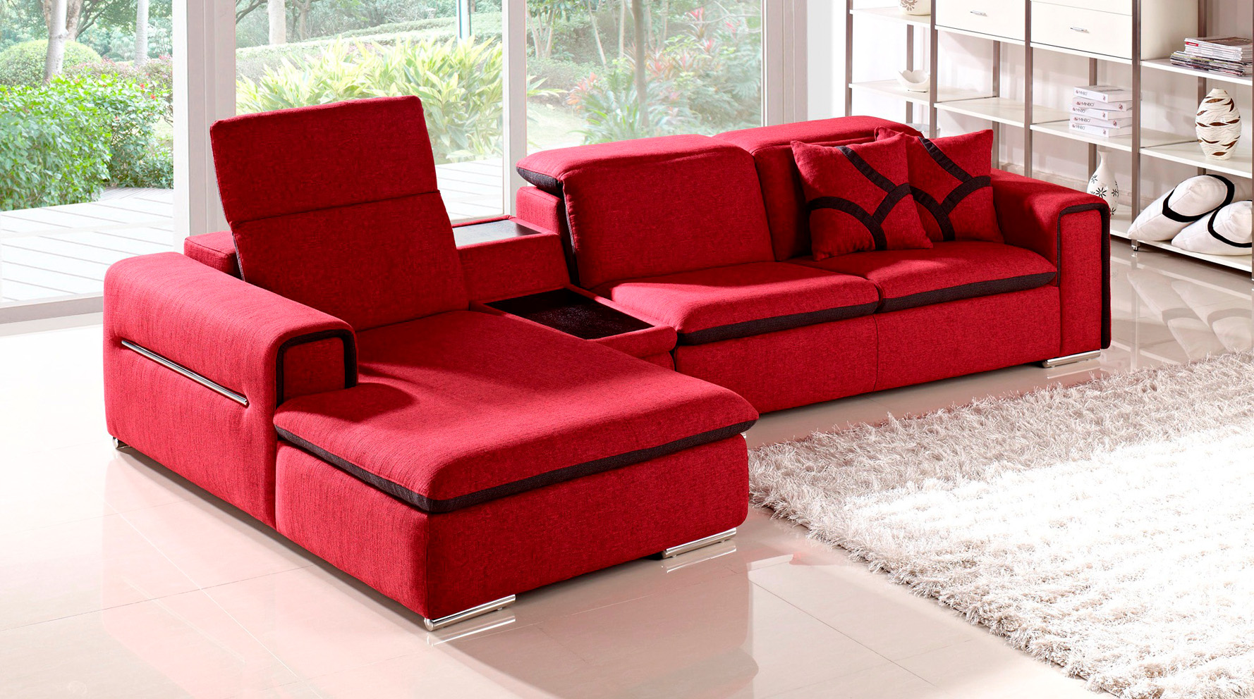 Red Indigo Fabric Sectional Sofa With Table And Storage Zuri Furniture